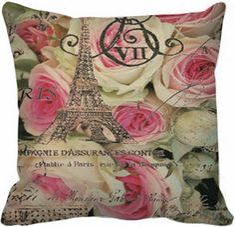 Capa de Almofada Vintage Rosas-Paris