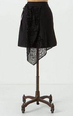 Anthropologie Asymmetrical Leifnotes Westwood Skirt Black 10 NWT #LEIFNOTES #ALine