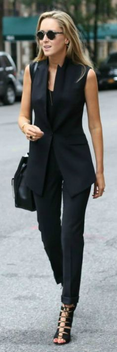 Look super stylish in this vest suit paired with black heels. Via memorandum  Vest: Theory, Pants: Theory, Sandals: Leoffler Randall