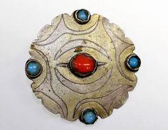 Turkmenischer Knopf, Antiker Turkmenischer Feuervergoldeter Yomud Silberknopf mit Glasperlen, Tribal Knopf, Turkmenenschmuck von neemaheTribal auf Etsy