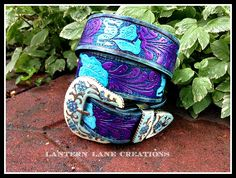 Custom belt in turquoise, purple and blue