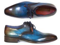Paul Parkman Men's Blue & Brown Hand-Painted Derby Shoes