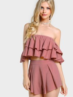 Shop Layered Flounce Bardot Top And Shorts Co-Ord online. SheIn offers Layered Flounce Bardot Top And Shorts Co-Ord & more to fit your fashionable needs. Crop Top Und Shorts, Crop Tops, Look Fashion, Fashion Outfits, Shorts Co Ord, Bardot Crop Top, Summer Outfits, Cute Outfits, Marina Laswick