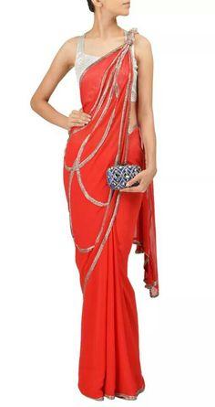 Gaurav Gupta. Red sari. Embellished palla