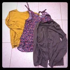 Top Lot  Selling three great tops for spring. One small yellow long sleeved (f21). One small floral sleeveless (urban outfitters). One xs grey cardigan (banana republic). Free of rips or tears. From pet and smoke free home. Banana Republic Tops