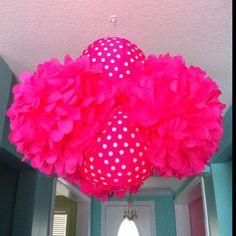 """Poms & polka dot lantern """"chandelier"""""""