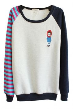 Color Block Round Neck Sweatshirt with One Striped Sleeve
