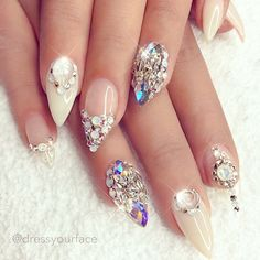 Cream and crystal stilettos