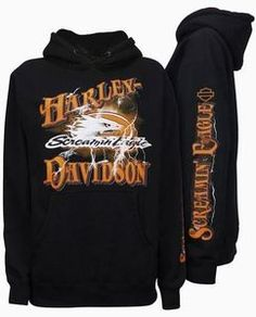 Harley Davidson® Mens Screamin Eagle Lightning Black Hoodie HARLMS0050 New | eBay