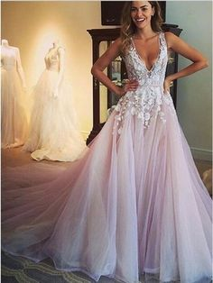 Long Prom Dress,lace prom dress,v-neck prom dress,ball gown dress,elegant prom dress,formal prom dress,cheap prom dress PD210122