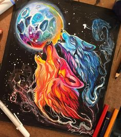 wolf art drawing - Space Howl (Day Print from Katy Lipscomb Amazing Drawings, Beautiful Drawings, Colorful Drawings, Cute Drawings, Wolf Painting, Painting & Drawing, Animal Drawings, Pencil Drawings, Marker Drawings
