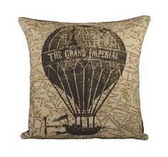 Hot Air Balloon Pillow Cover, Flying Machine with Map Pillow, Steampunk, Sepia, Browns, Decorative Throw Pillow, 16. $46.00, via Etsy.