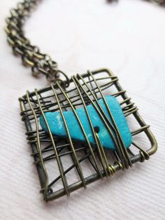 Wire Wrapped Pendant Necklace Brass Wire Square and by Kostimusha, $26.00