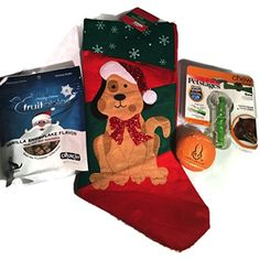 Dog Christmas Stocking filled with PetStages CRUNCHCORE bone-small, Orange Hyper Pet Tennis Ball and Fruitables Vanilla Snowflake Crunchy Dog Treats 7 oz. - 4 piece bundle -- Click image for more details. (This is an affiliate link) #Toys