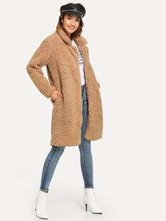 Shop Pocket Side Solid Teddy Outerwear at ROMWE, discover more fashion styles online. Teddy Bear Coat, Brown Teddy Bear, Georgia, Thing 1, Vest Jacket, Types Of Sleeves, Street Style Women, Outerwear Jackets, Fashion News