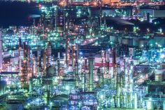 Night View of the Factory Zone of Kawasaki, Japan
