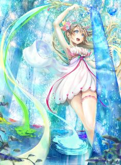 ✮ ANIME ART ✮ water. . .elemental. . .magic wand. . .ribbons. . .magical. . .fantasy. . .goddess. . .nature. . .cute. . .kawaii