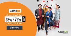 Grab The Grand Diwali Sale Today! #Jabong Offers Upto 80% + Extra 25% Off. http://www.grabon.in/jabong-coupons/ #SaveOnGrabOn
