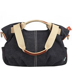 Eshow Womens Casual Canvas Hobo Shoulder Bag Black * Click image for more details.Note:It is affiliate link to Amazon. #CarryWithYou
