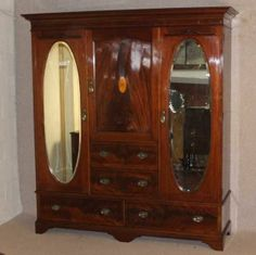 Lovely Large Edwardian Mahogany 3 Door Compactum Wardrobe with inlay detail. New Furniture, Antique Furniture, Doors, The Originals, Antiques, Ebay, Detail, Home Decor, Antiquities