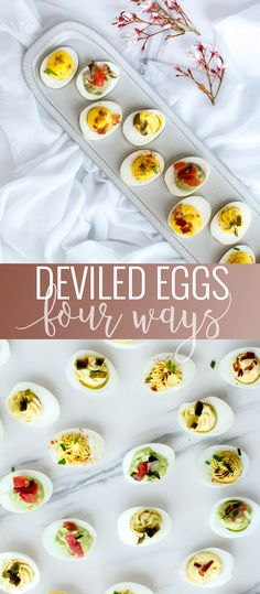 Unique Egg recipes - Easy Deviled Eggs Four Ways. Guacamole Deviled Eggs, Bacon Deviled Eggs, Deviled Eggs Recipe, Scrambled Eggs, Easter Dinner Recipes, Appetizer Recipes, Holiday Recipes, Appetizers, Spring Recipes