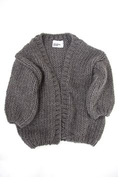 Oversized grey knit sweater for fall. The Cardigan
