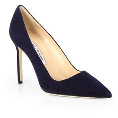 Manolo Blahnik BB Suede Point-Toe Pumps (1,090 BAM) ❤ liked on Polyvore featuring shoes, pumps, heels, apparel & accessories, blue suede shoes, suede shoes, women shoes, famous footwear and pointed toe shoes