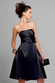 Sexy Black Bridesmaid Dresses, would look great with a houndstooth tie instead of black.