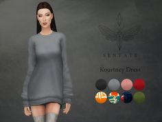 Created By Sentate Kourtney Sweater Dress Created for: The Sims 4 An oversized sweater dress with baggy sleeves. Inspired by one that Kourtney Kardashian wears. Comes in 8 colours. http://www.thesimsresource.com/downloads/1364092