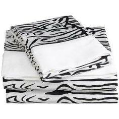 Zebra Print Twin Sheet Set 300 tc $28.99 www.KidsCottonBedding.com