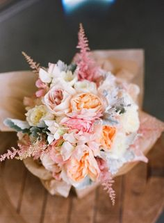 Wedding Ideas: pink-peach-gray-soft-bouquet