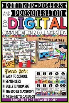 If you have your students engage in digital communication and collaboration on platforms like Google Classroom, Google Drive, Edmodo, Virtual Collaboration Boards (ex. Padlet), your LMS, etc. then this Google Slides instructional presentation and poster s Technology Posters, Technology Tools, Digital Technology, Educational Technology, Technology Lessons, Teaching Technology, Computer Lessons, Computer Lab, Computer Literacy