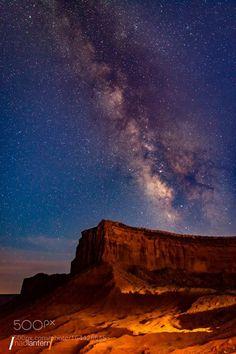 Milky Way over a butte in Utah