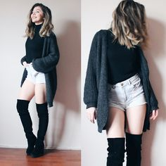 Duygu Fidanoglu - H&M Boots, Thrifted Cardigan, Thrifted Pants, Thrifted Turtleneck - High like the knee-highs