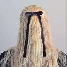 Items similar to SMALL Vintage Velvet Ribbon Hair Bow in Deep Rust on Etsy Blonde Hair Ties, Dye My Hair, Ponytail Hairstyles, Pretty Hairstyles, Hair Inspo, Hair Inspiration, Half Updo, Ribbon Hair Bows, Vintage Velvet