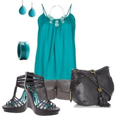 teal and grey, created by johnna-cameron on Polyvore