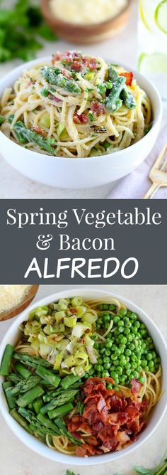 Creamy pasta with bacon, peas, asparagus, and leeks tossed in a light alfredo sauce. You'll love this Spring Vegetable and Bacon Alfredo Pasta! I used broccoli and then frozen peas and carrots and it was amazing. Alfredo Sauce, Fettuccine Alfredo, Yummy Pasta Recipes, Dinner Recipes, Cooking Recipes, Noodle Recipes, Potato Recipes, Casserole Recipes, Sweet Recipes