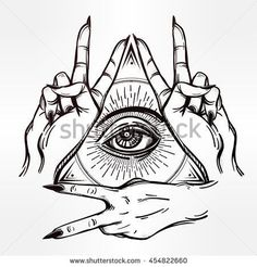 V sign hand. Flash tattoo fingers showing two forming a figure with an eye in it. Vector illustration isolated. Tattoo design, retro, music, summer, print symbol for your use.