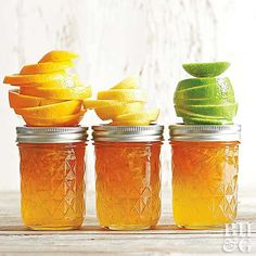Make the ultimate citrus marmalade by combining oranges, lemon, and lime. Be sure to make a big batch -- this marmalade will disappear fast! Orange Marmalade Recipe, Lemon Marmalade, Lime Recipes, Jelly Recipes, Orange Jam, Thing 1, Jam And Jelly, Oranges And Lemons, Vegetable Drinks