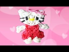 ▶ Making a Hello Kitty Charm on an Extended Rainbow Loom - YouTube