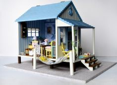 Miniature Dollhouse  DIY Kit Beach House with Voice Control Light and Music Box Cute Room House Model Happiness Coast by SimpleSmart on Etsy