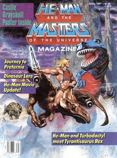 He-Man riding a Turbodactyl vs Tyrantisaurus Rex