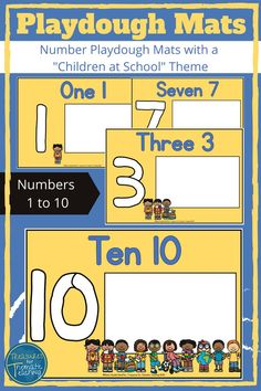 These number mats are great for numeracy skills as well as promoting fine-motor skills through the use of playdough.  There are 10 mats included in this resource.