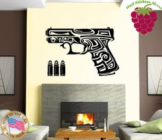Wall Stickers Vinyl Decal Gun Chucks Bullets Weapons Tribal Tattoo ig864