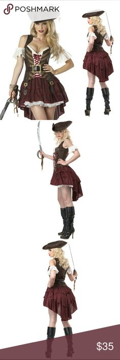 Sexy Swashbuckler Pirate Halloween Costume Medium Sexy Swashbuckler pirate Halloween costume! Costume includes top, skirt, sleeves, belt & hat. Great condition, only worn once! Size medium. Dresses High Low