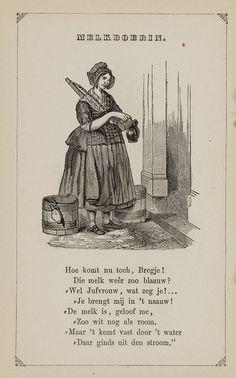 Melkboerin. Uit: Prentenboek: een ijverige hand vindt werk, 1850. Aanvraagnummer: 851998240 Women's History, Urban, Books, Nostalgia, Livros, Book, Livres, Libros, Libri
