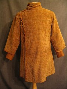 09003423 Tunic Medieval tan brown velour, leather trim, C43.JPG