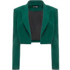 Dalood Boxy Cropped Blazer (2363000 PYG) ❤ liked on Polyvore featuring outerwear, jackets, blazers, blazer, green, green blazer, green jacket, blazer jacket, collar jacket and cropped blazer jacket