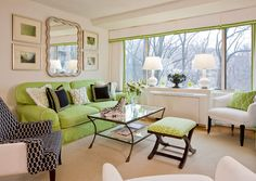 Washington meets Florida.  Lime green, white and navy blue living room.
