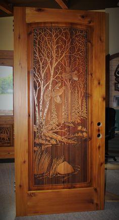 carved wood entry door